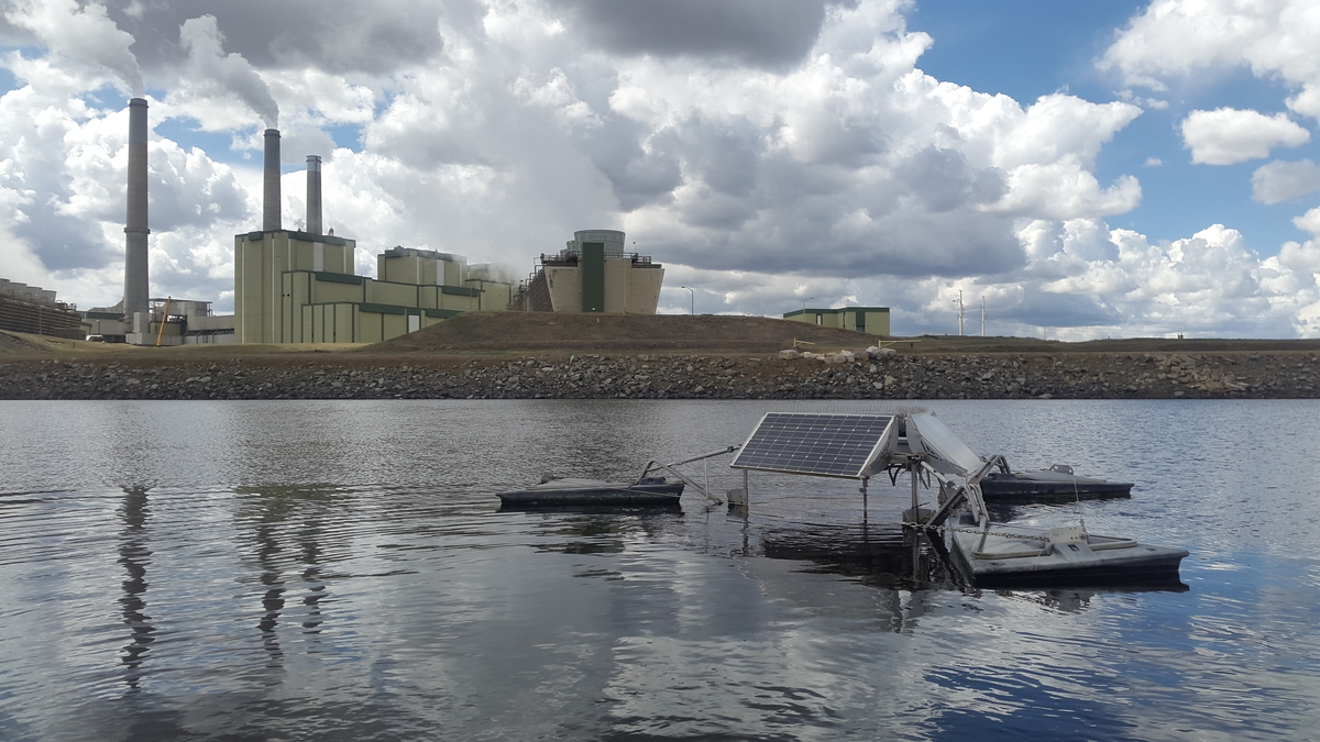 image showing a SolarBee® Mixer in an industrial wastewater lagoon.