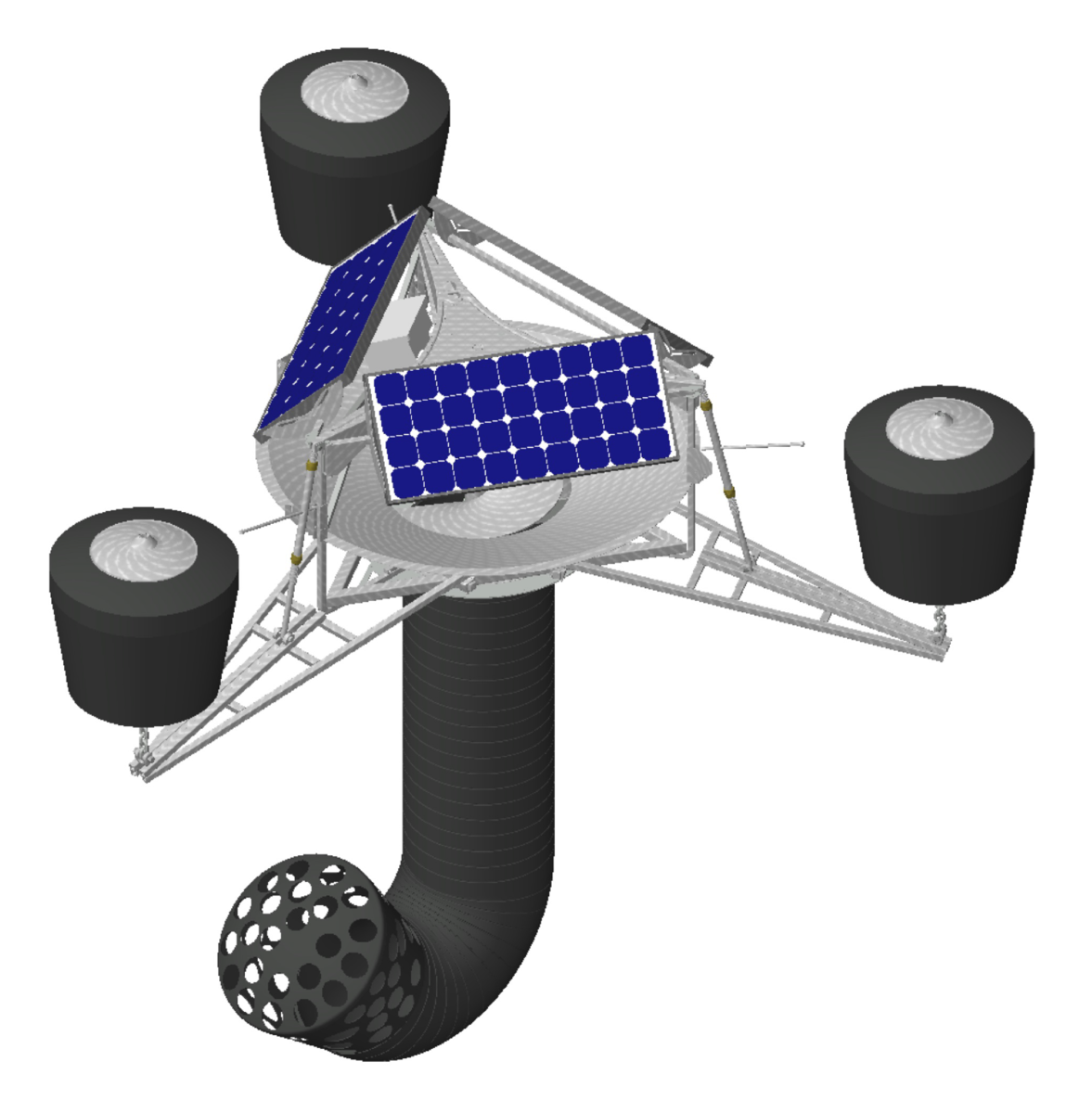drawn image depicting a SolarBee SB7500LH Hypolimnetic Lake Circulator