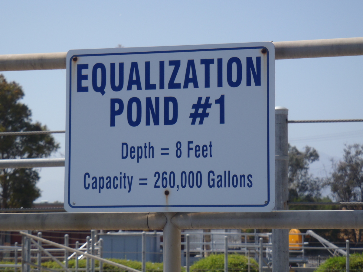 Sign says Equalization Pond 1