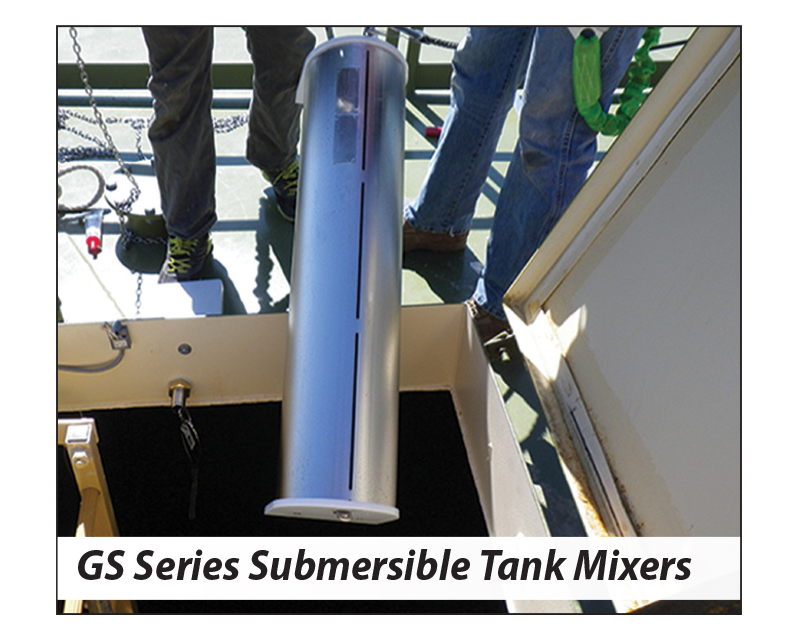 image showing a GridBee GS Series Submersible Tank Mixer being lowered through a tank hatch