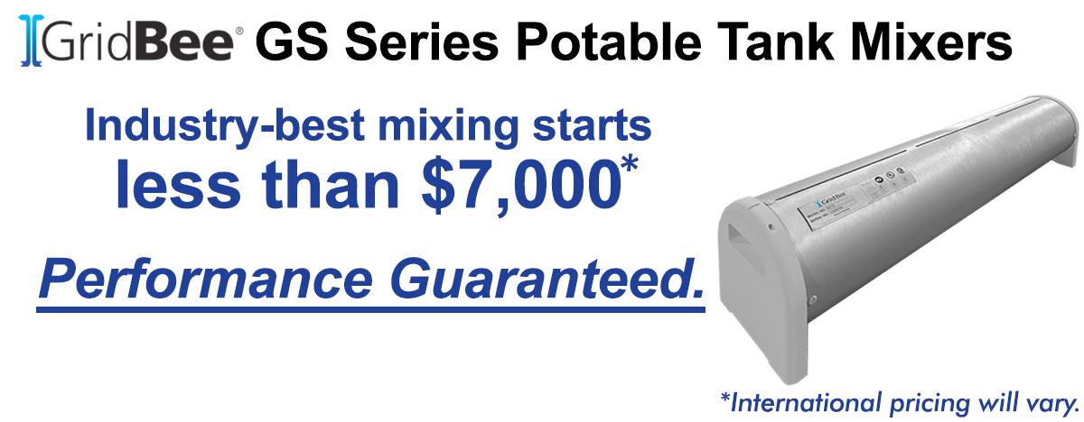 title image: GS Series Potable Tank Mixers, Industry-best mixing starts less than $7,000 - Performance Guaranteed