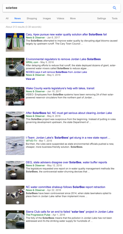 image showing disproportionate amount of Google News results for jordan lake, inaccurate media reporting