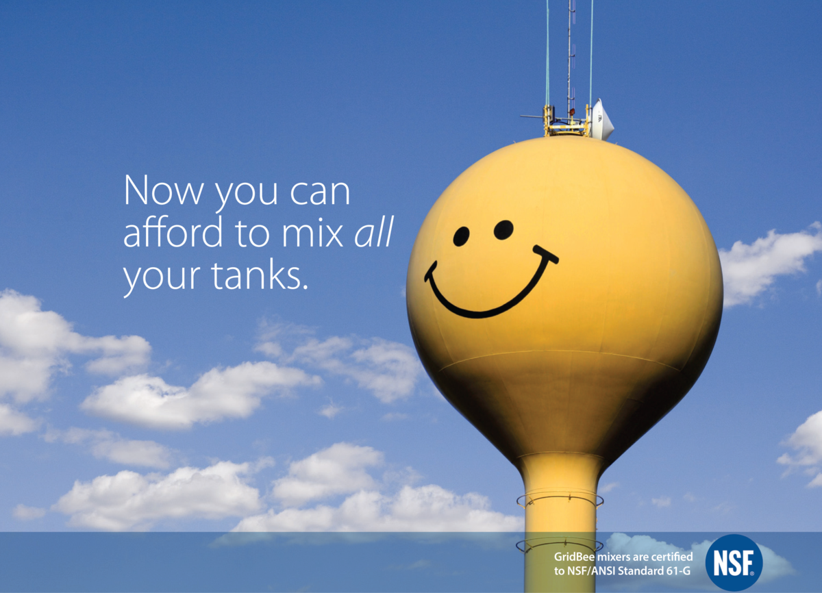 "water tank painted like a smiley face with a partly cloudy blue sky. caption: ""now you can afford to mix all your tanks"""