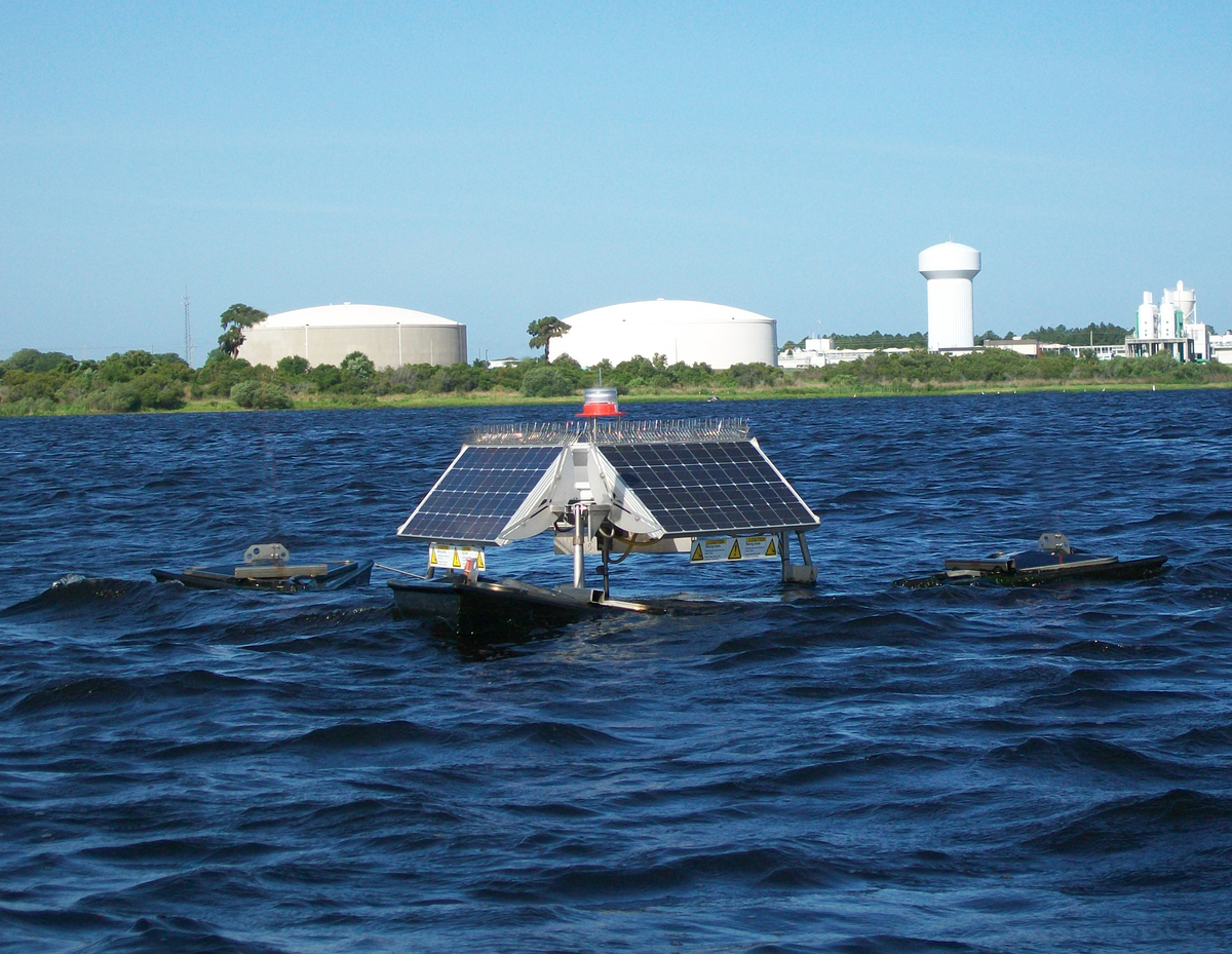 SolarBee circulating at water treatment plant.