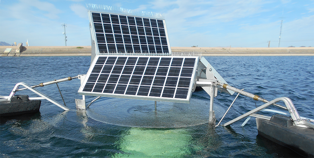 SolarBee® Lake Circulator improving water quality in a raw water reservoir