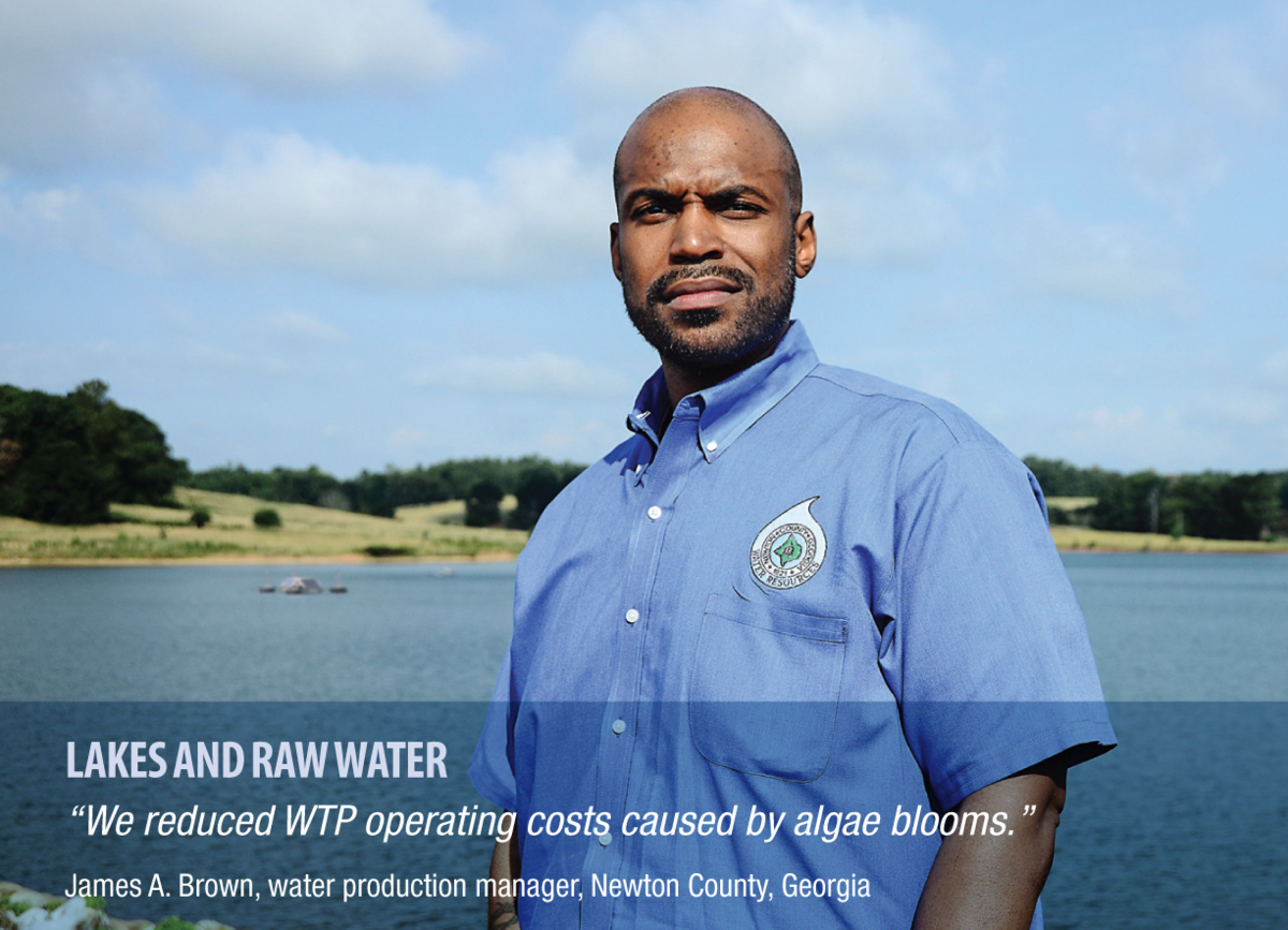 "James A. Brown water production manager ""We reduced WTP operating costs caused by algae blooms."""