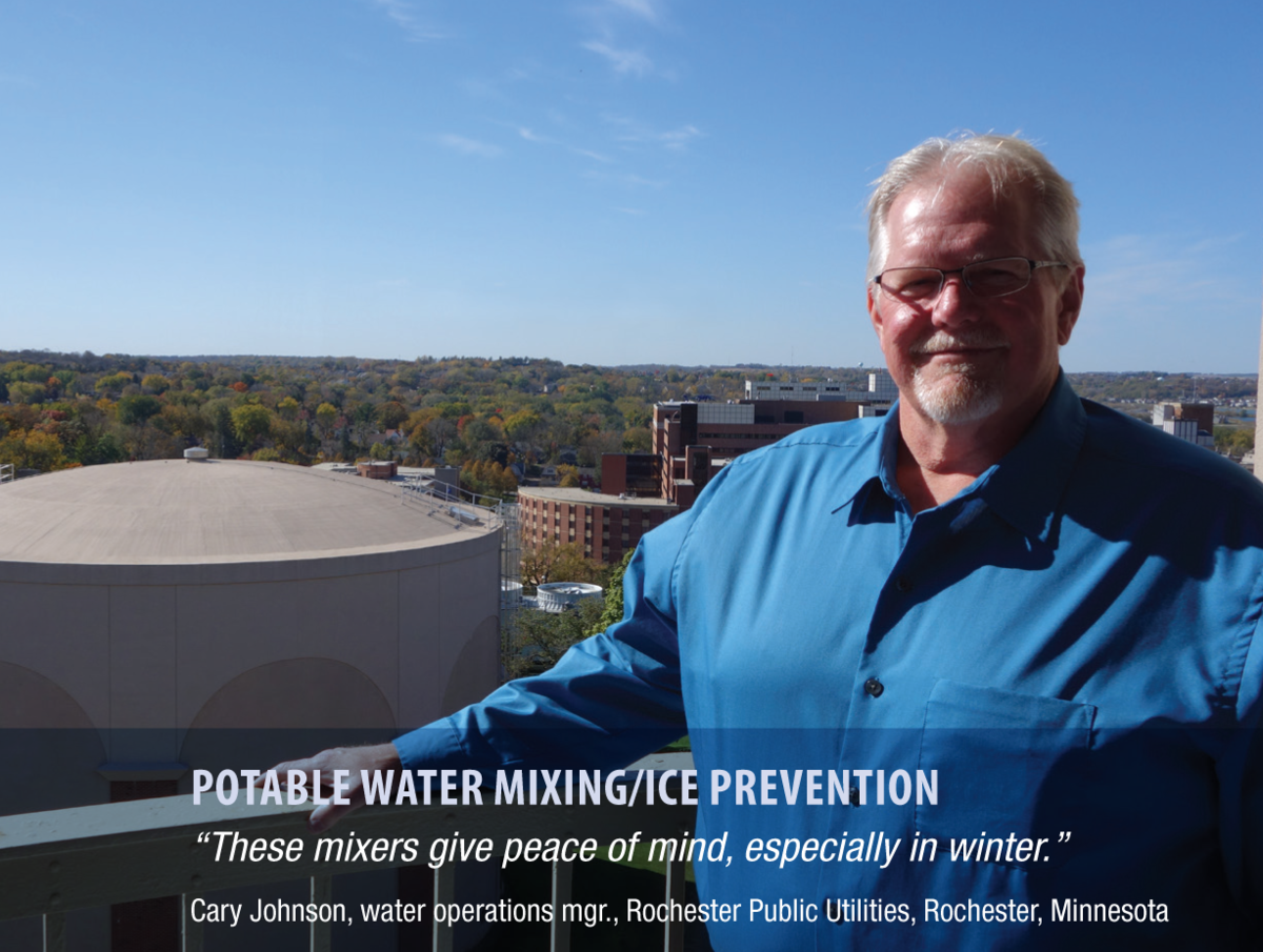 "caption: potable water mixing / ice prevention quote: ""these mixers give peace of mind, especially in winter""  Man on water tank with more water tanks and small town skyline in the background on a sunny day."