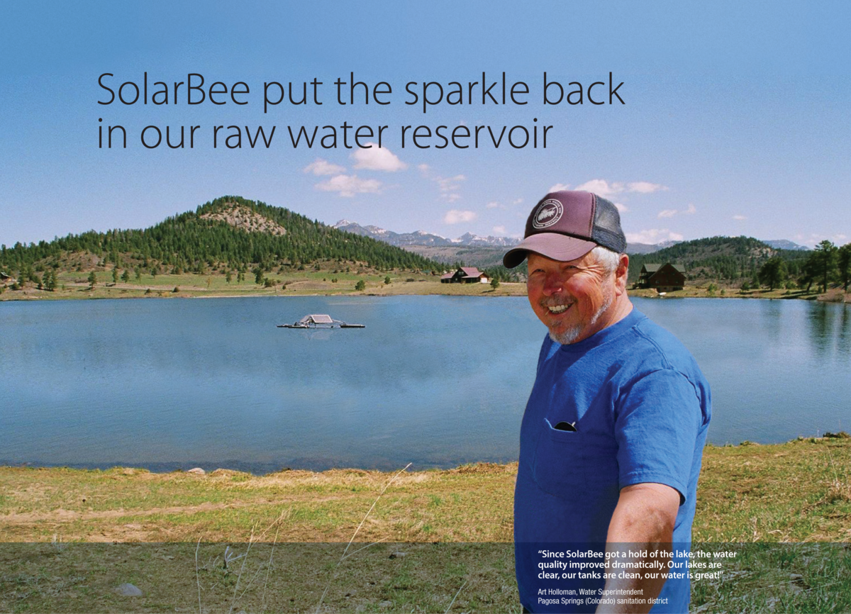"Image of raw water reservoir with quote ""SolarBee put the sparkle back in our raw water reservoir"""
