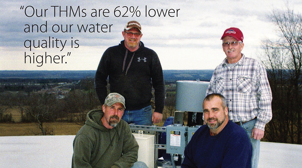 "image showing happy THM reduction Customers- quote: ""Our THMs are 62% lower and our water quality is higher."""