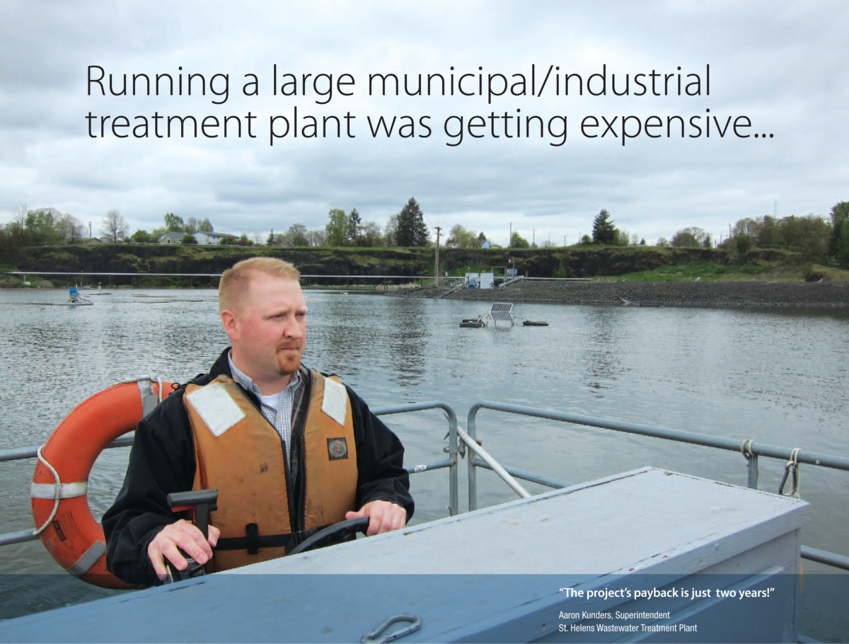 """Running a large municipal/industrial treatment plant was getting expensive."" Industrial Water Plant Operator driving a boat"