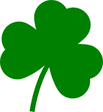 graphic of three leaf clover for St. Patrick's Day.