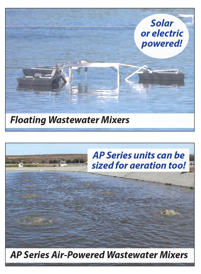 compilation image showing floating and air-powered wastewater mixers